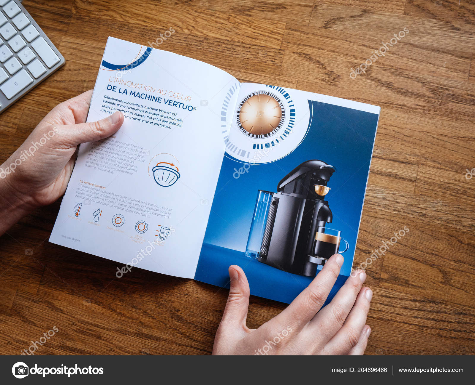 paris france jul 2018 view pov advertising leaflet catalogue