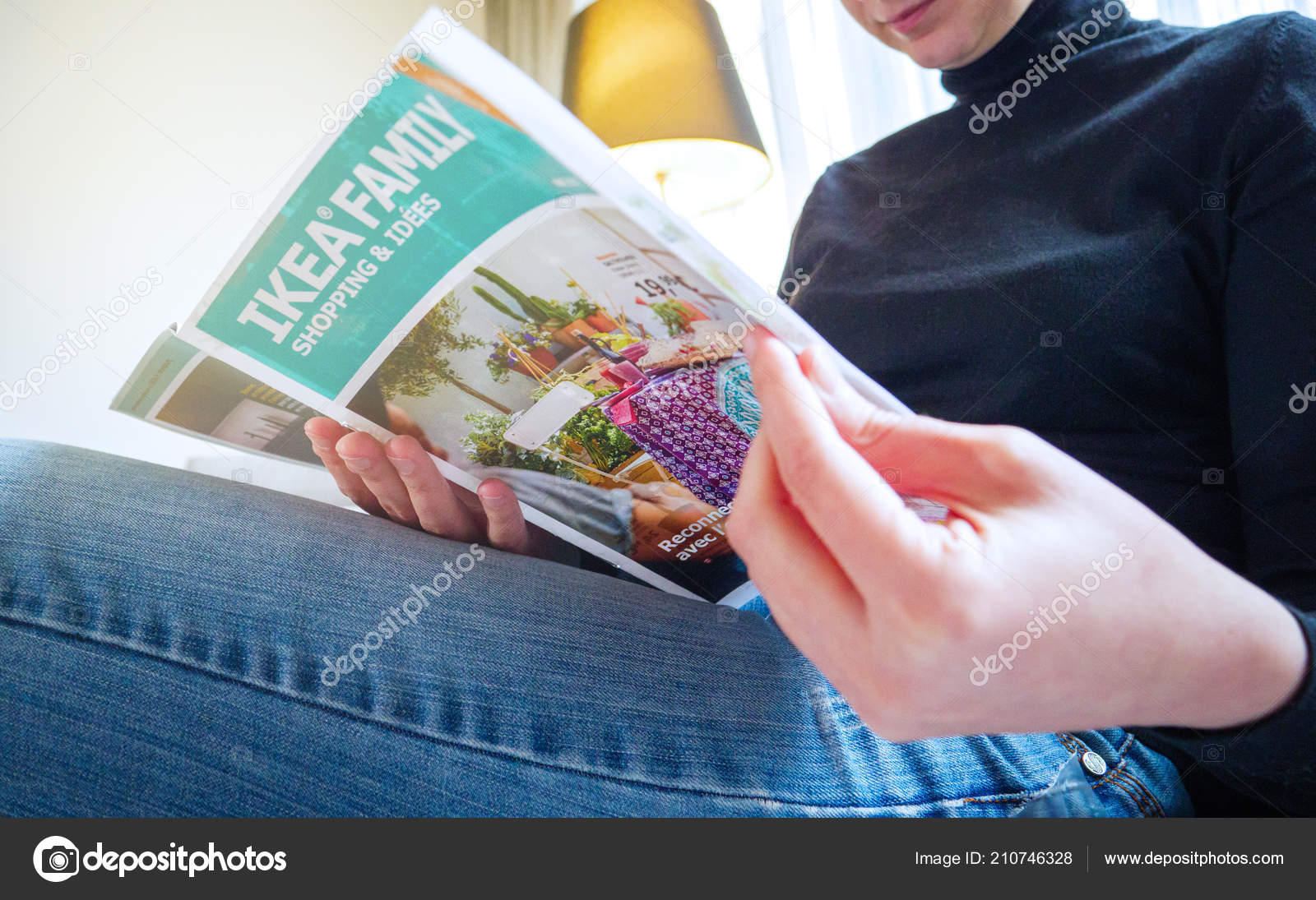 Paris France May 2017 Elegant Woman Reading Ikea Catalogue Furniture