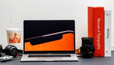 London - September 13, 2018: Apple Computers internet website on 15 inch 2018 MacBook Retina in room environment showcasing iPhone Xr product presentation film