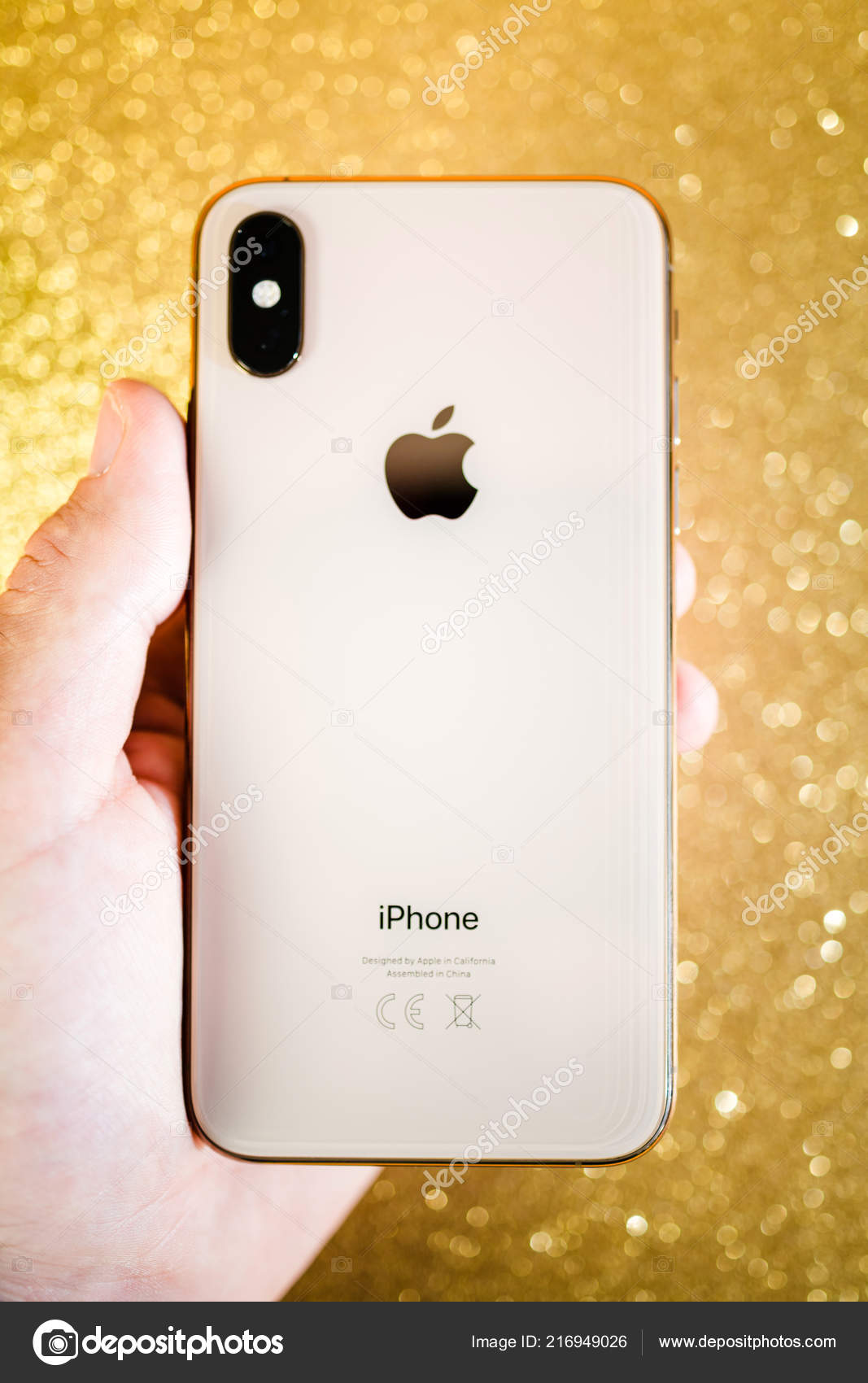 Apple Iphone Xs Max Xr Or Scintillant Sparkle Fond Apple Log Photo