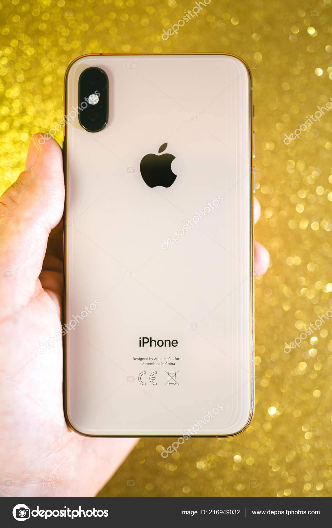 Apple Iphone Xs Max Xr Oro Glitter Scintilla Sfondo Apple Log Foto