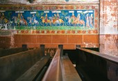 Fotografie Wider fragment of an old fresque in French church with knighthoods on horses holding flags with ancient names of European countries