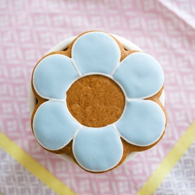 Baptism sweet made from dough and marzipan paste