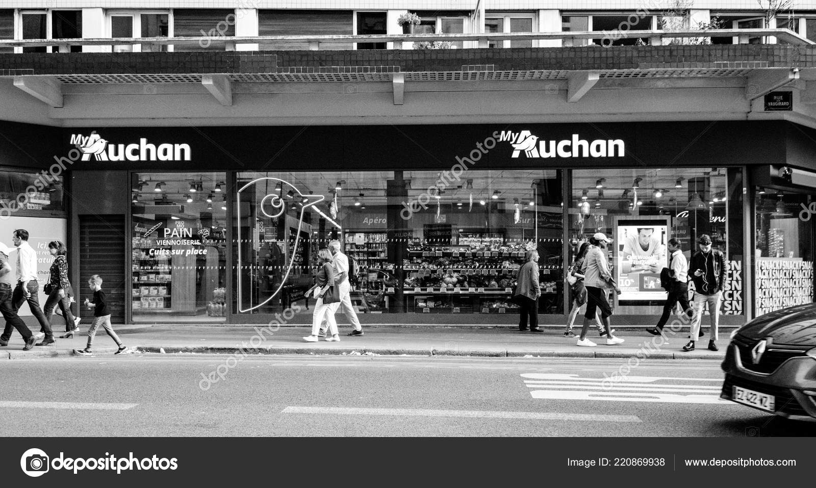 Supermarket Auchan in paris, France with customers – Stock
