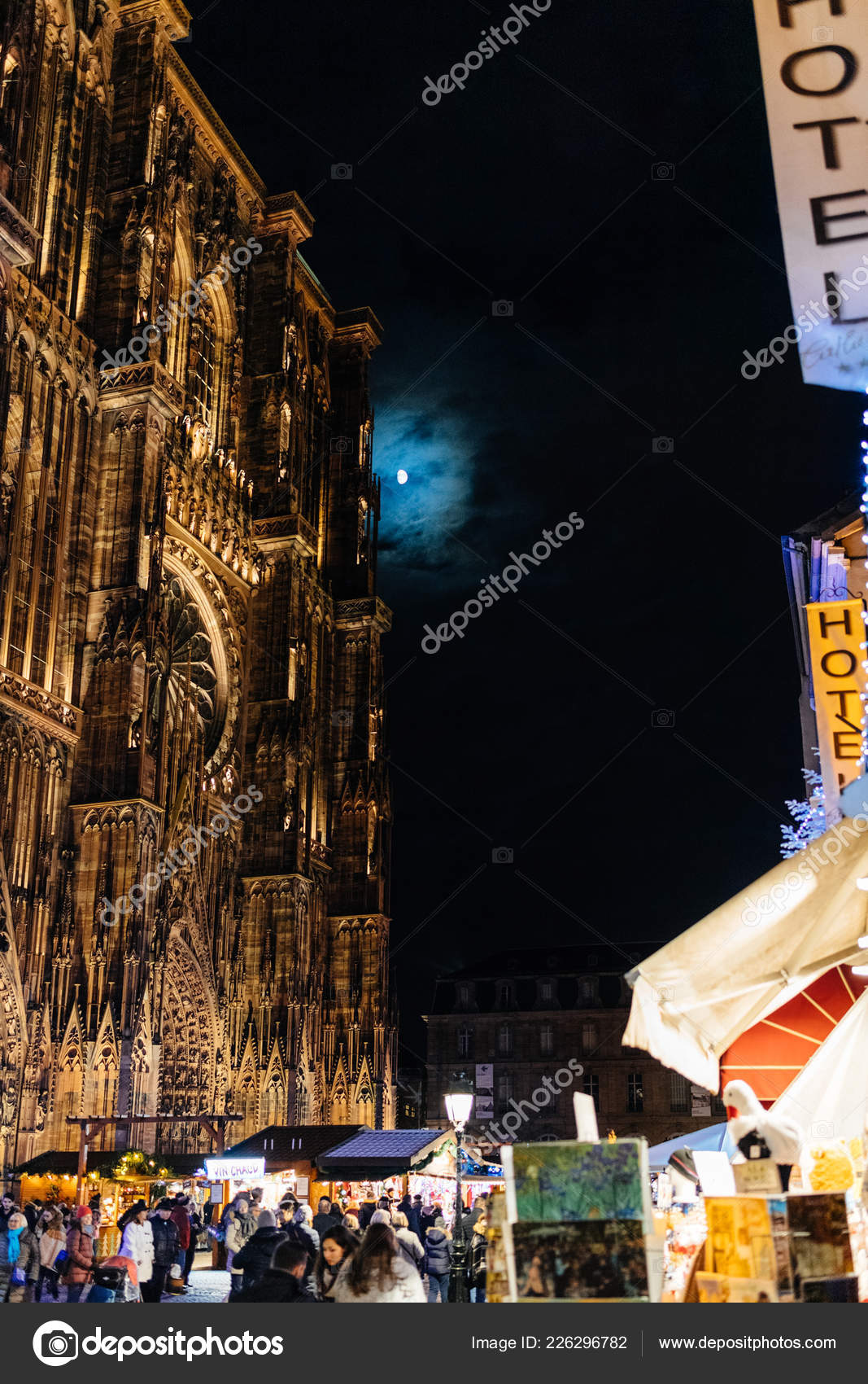 Notre-Dame cathedral, Maison Kammerzell Full Moon and Christmas ...