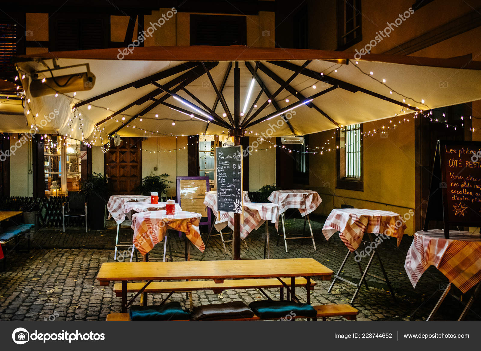 Outdoor Terrace With Umbrella Cafe Restaurant And Lights Stock Editorial Photo C Ifeelstock 228744652