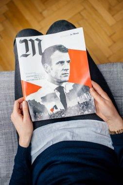 M le magazine du monde Emmanuel Macron woman reading