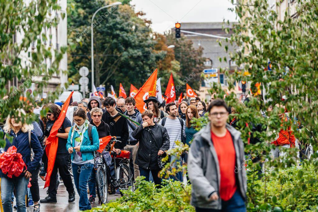 political march against labour reforms of Emmanuel Macron