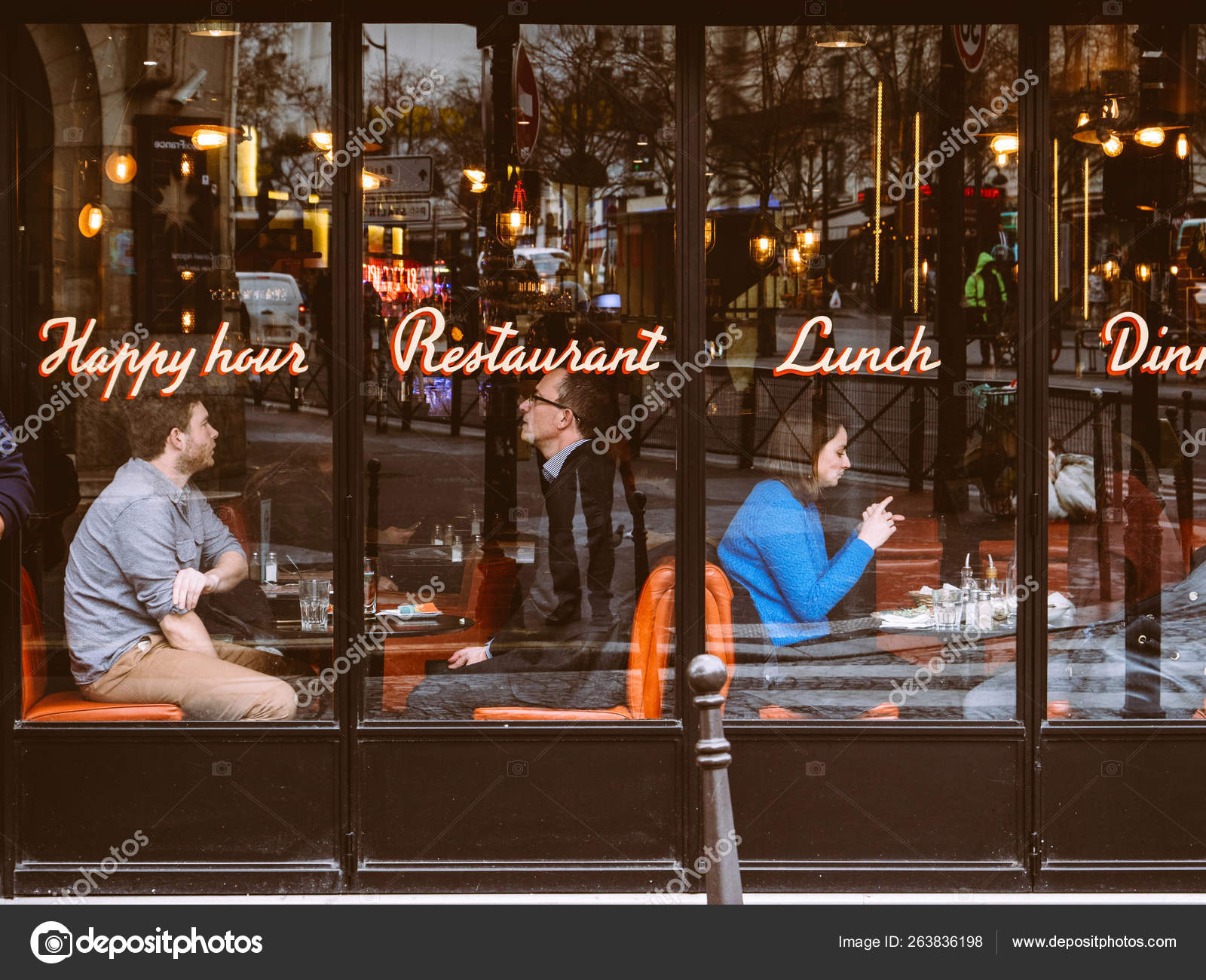 People Couples Having Lunch In Central Paris Cafe Glass Stock Editorial Photo C Ifeelstock 263836198