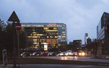 Headquarter of Der Spiegel The Mirror newspaper traffic jam