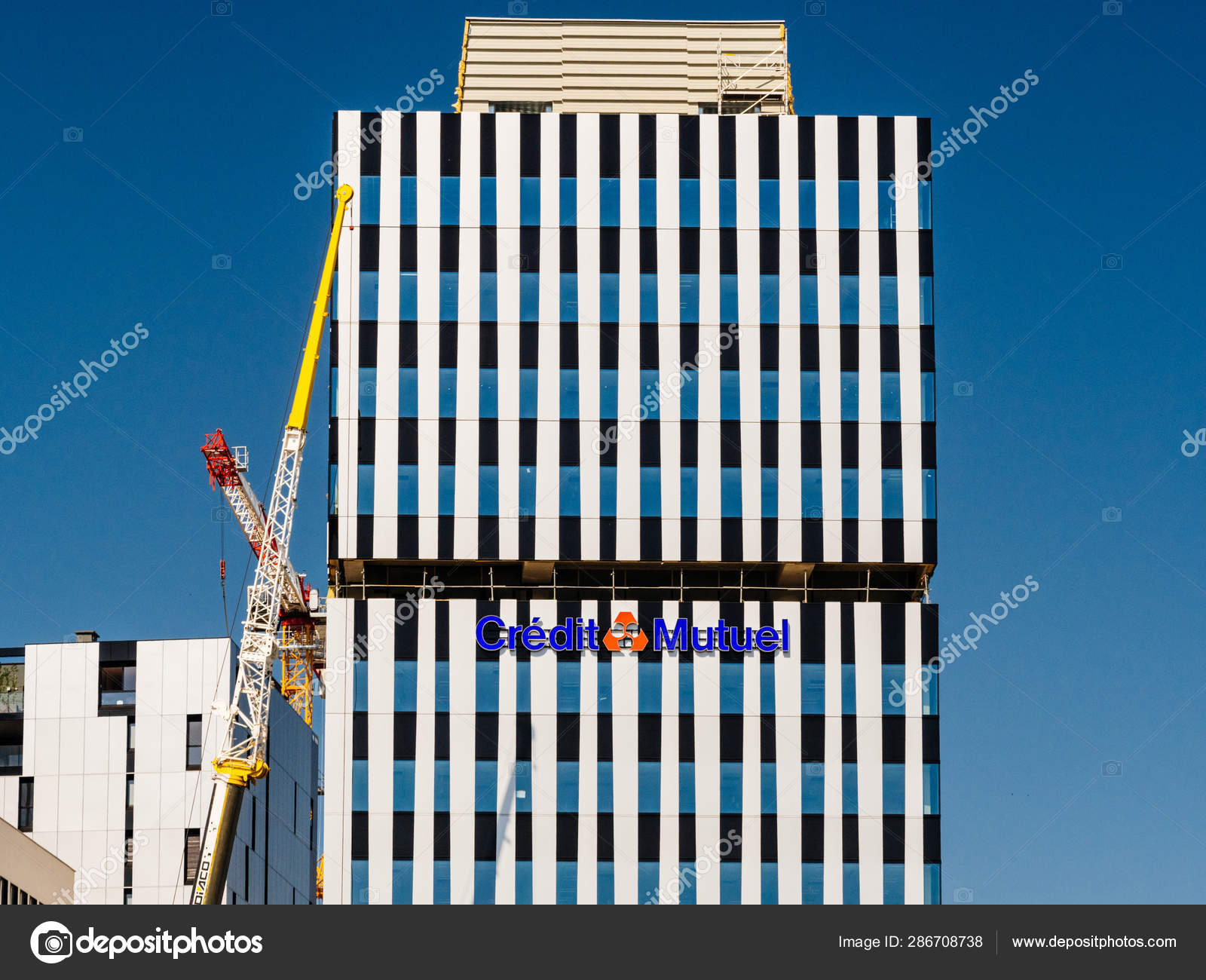 Credit Mutuel Bank Signage On The Facade Stock Editorial