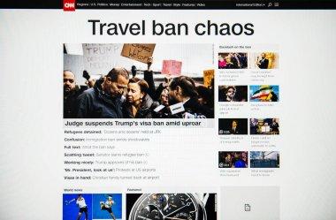digital computer screen with CNN news channel