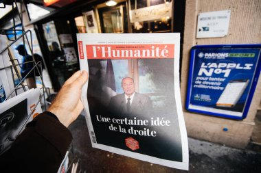 Jacques Chirac on cover of newspaper at press kiosk