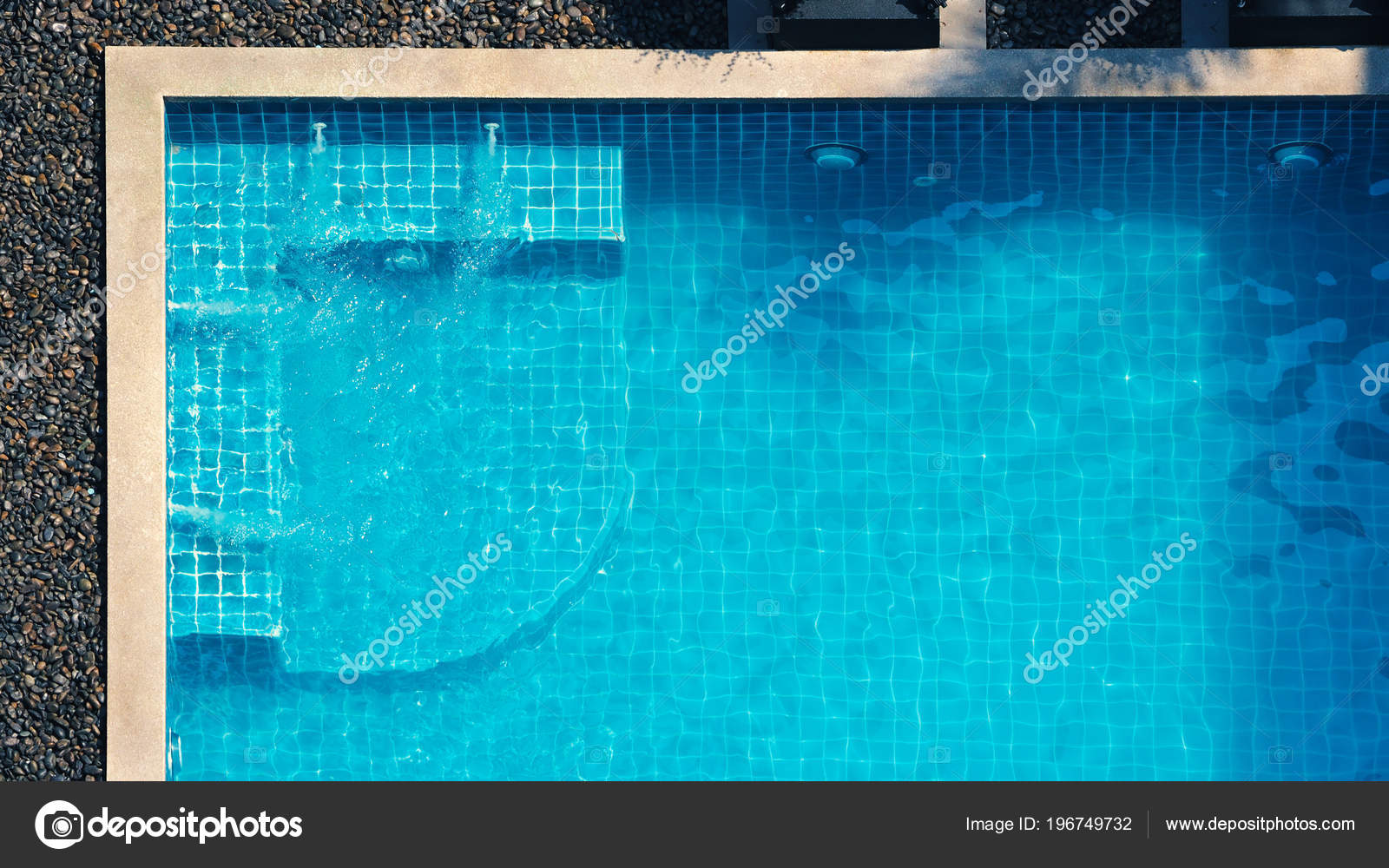 Swimming Pool Bubble Bath Relaxing Summer Hot Day Bird Eye — Stock ...
