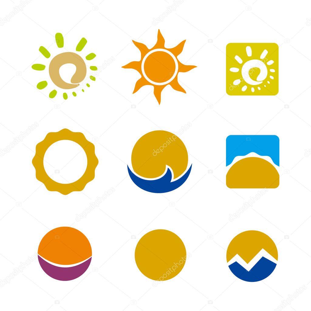 Abstract Sun set Logo element. Corporate branding identity design template. Abstract Sun design collection. Vector illustration