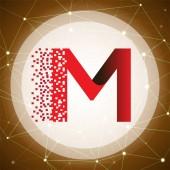 Koncept loga písmeno M dat tech s tech pozadí. dopis s šablona vektorových dat