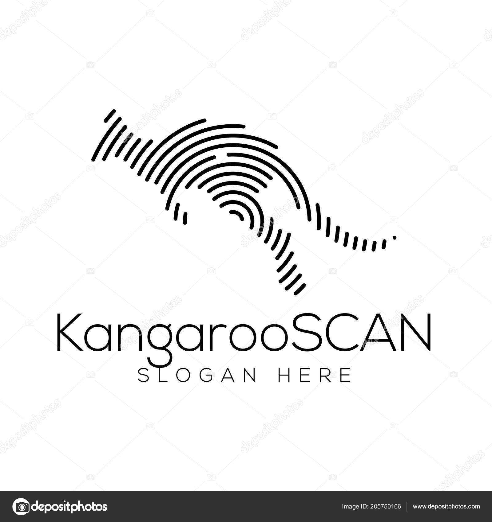 kangaroo scan technology logo vector element animal technology logo