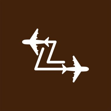 Line Airways L letter logo vector element. Initial Plane Travel logo Template