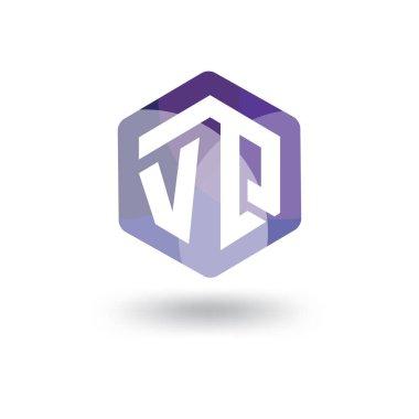 V Q Initial letter hexagonal logo vector