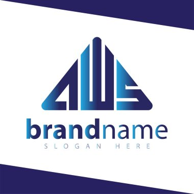 A W S Letter Triangle abstract logo stock template