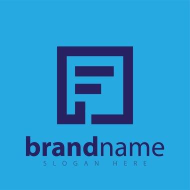 F Letter in Square Line Logo stock template