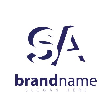 SA Initial Letter logo in negative space vector template