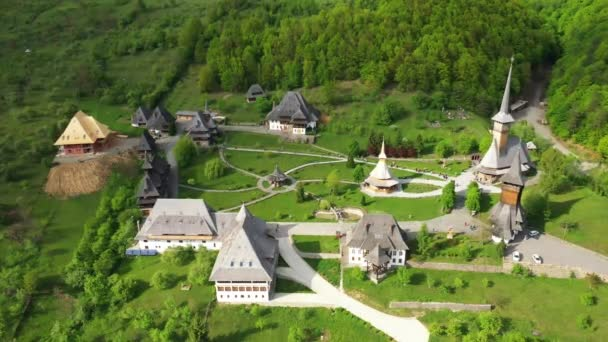 Wooden Vodita monastery located in western Romania Mehedinti county 4K Old Vodita wooden monastery heritage of Romania
