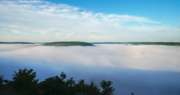 Time lapse fog over the river in the canyon Dniester Ukraine