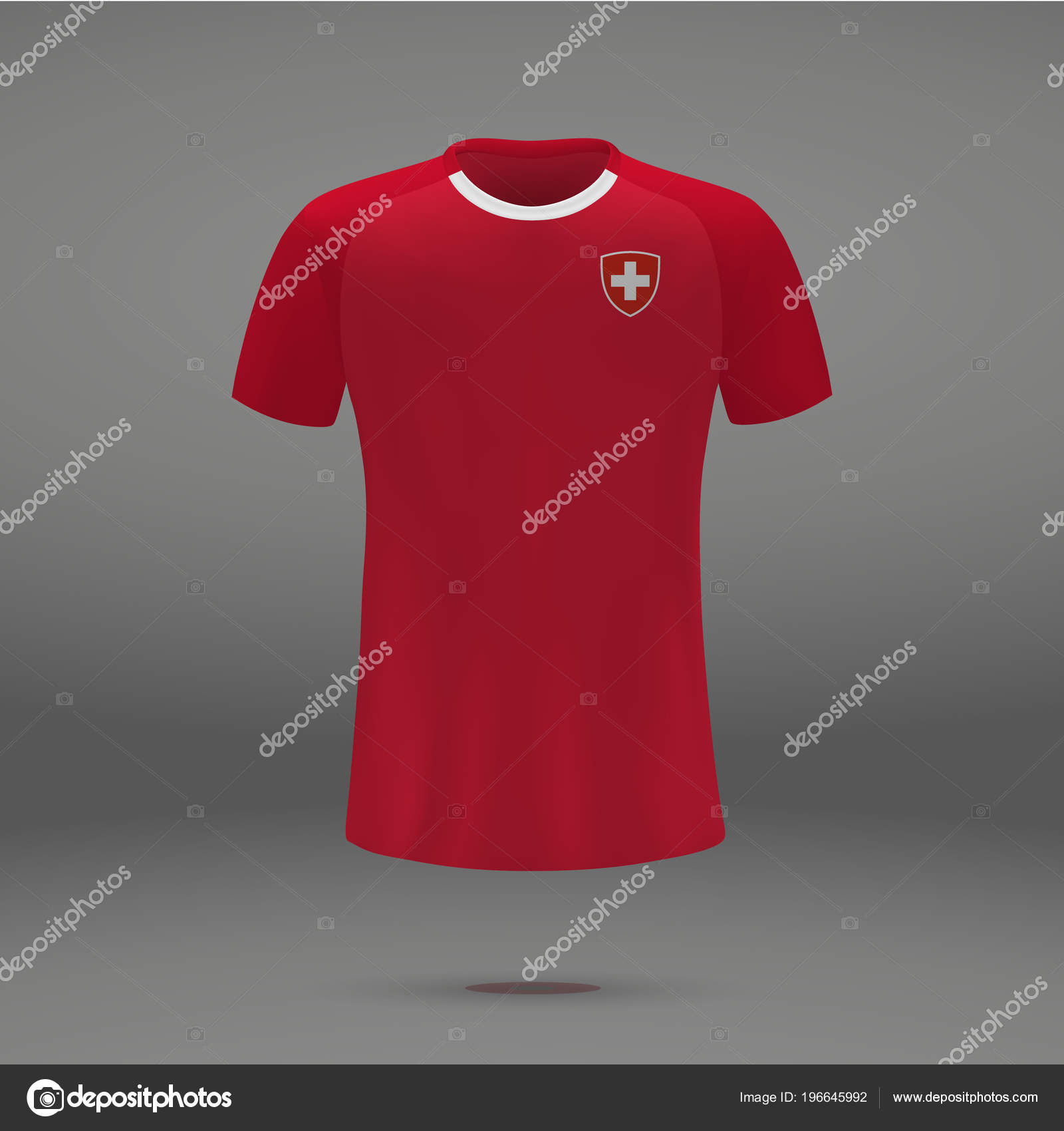 eabbc0cda17 Football Kit Switzerland 2018 Shirt Template Soccer Jersey Vector  Illustration — Stock Vector