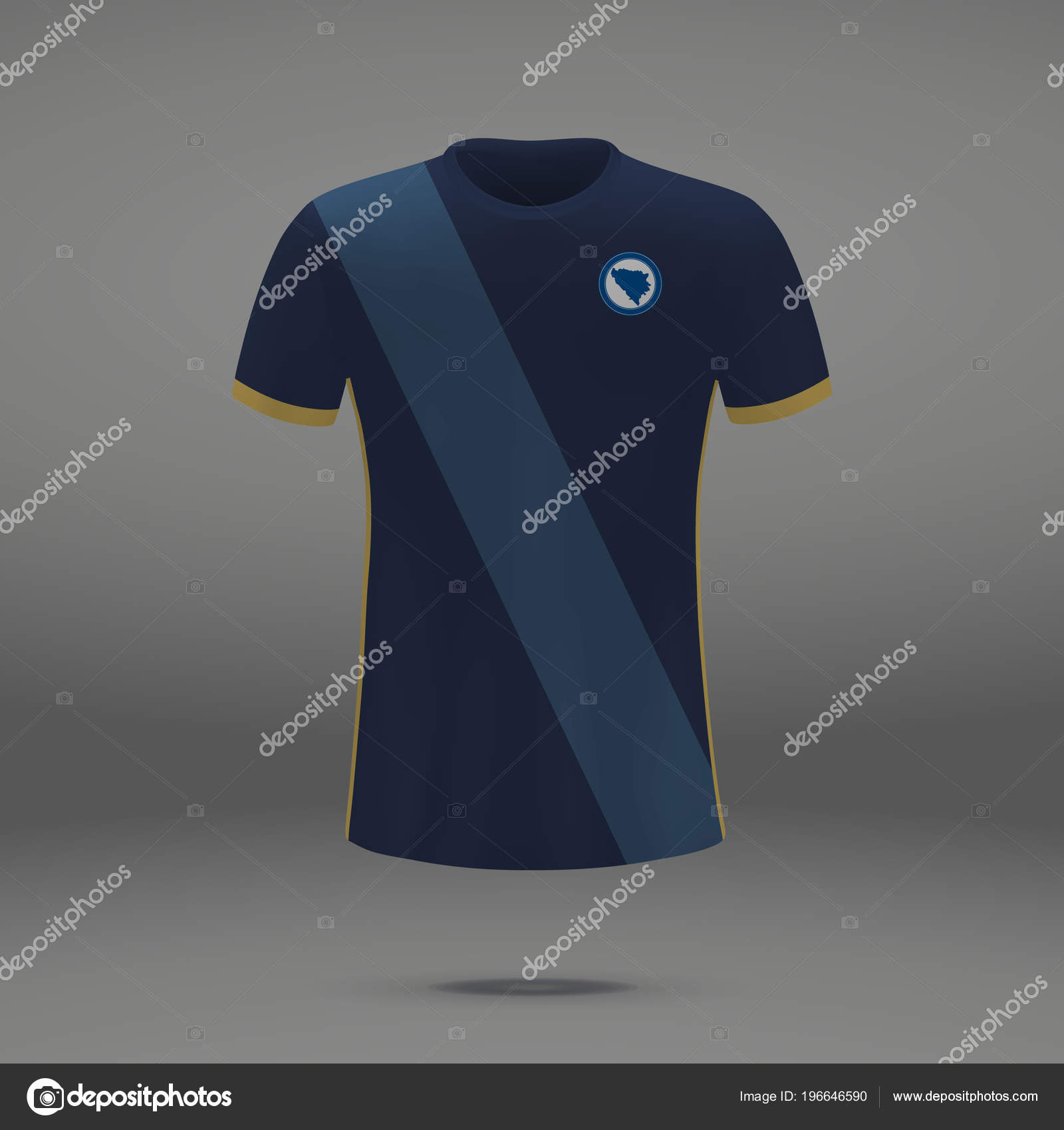 e6319f957 Football Kit Bosnia 2018 Shirt Template Soccer Jersey Vector Illustration —  Stock Vector