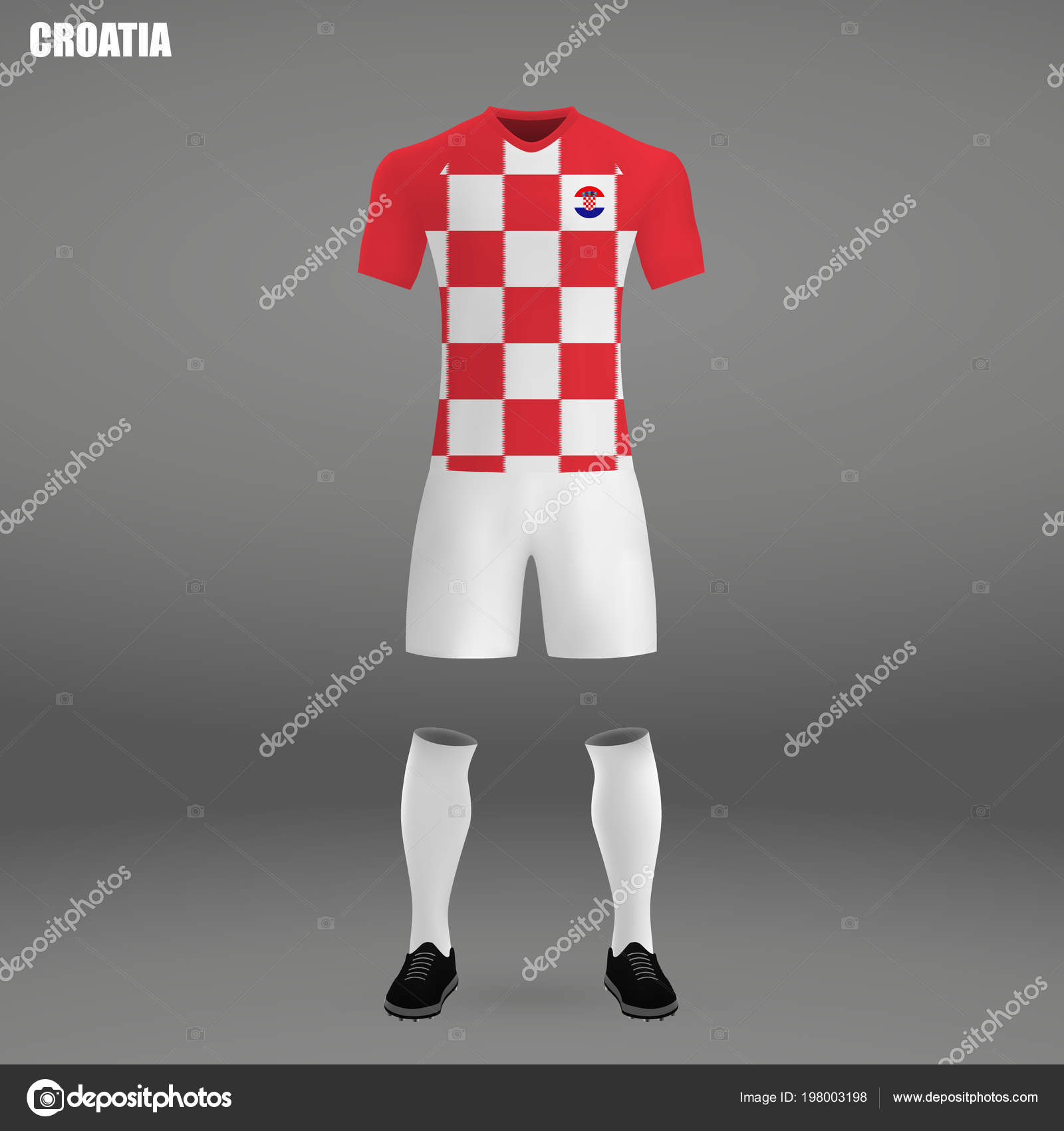 299f3626f0c Football Kit Croatia 2018 Shirt Template Soccer Jersey Vector Illustration  — Stock Vector