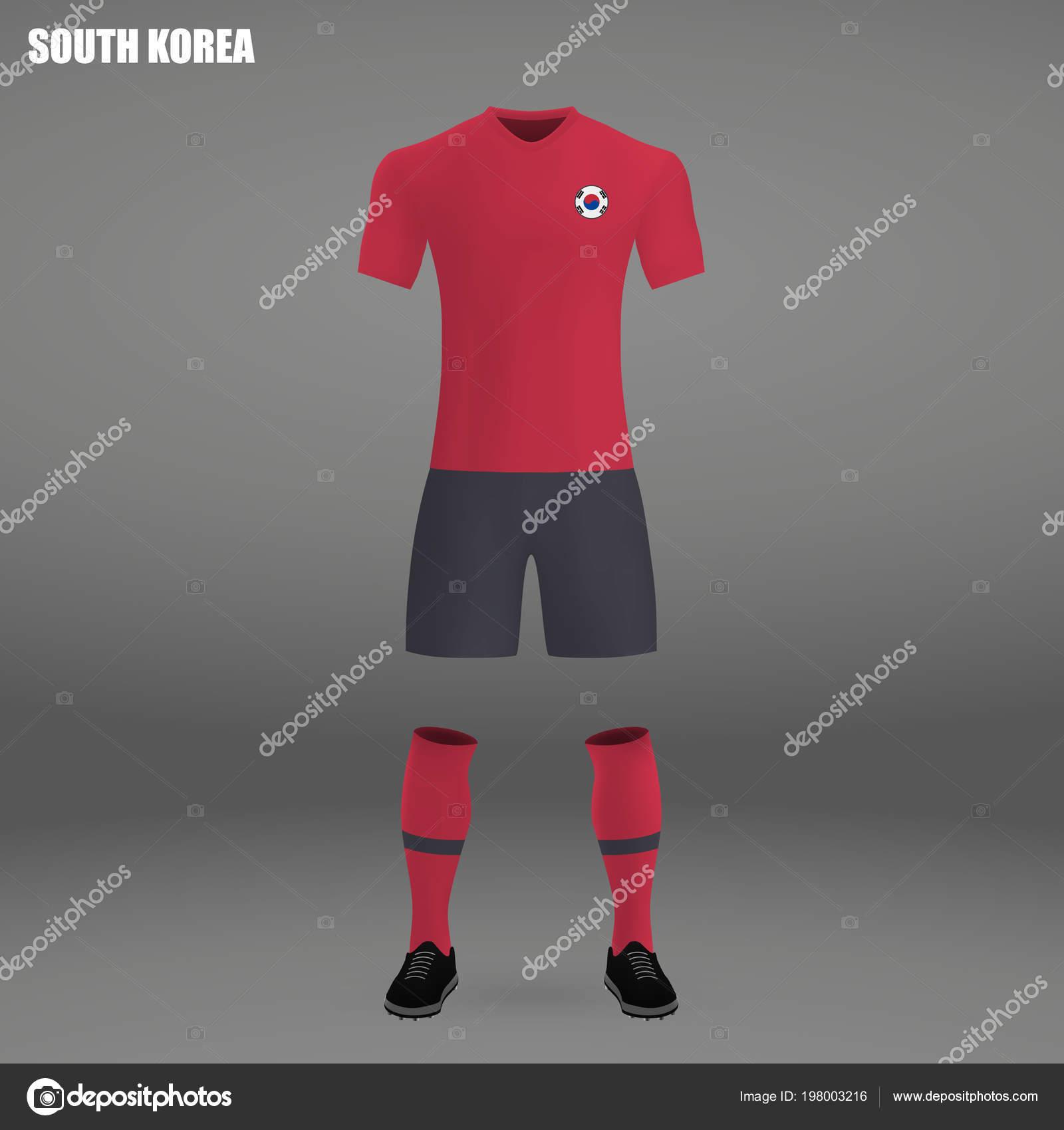 c5bb82f9d Football Kit South Korea 2018 Shirt Template Soccer Jersey Vector — Stock  Vector