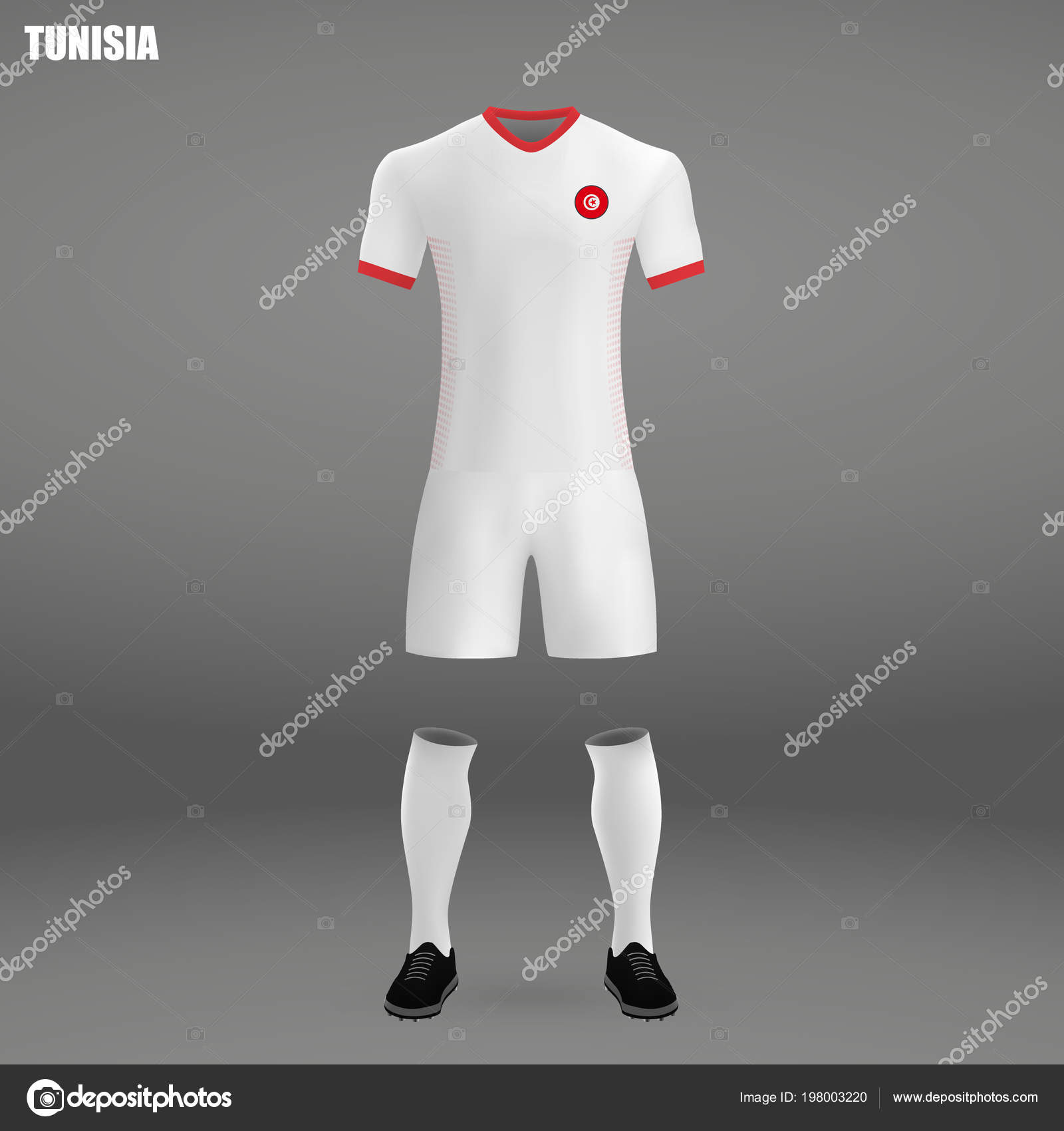 on sale 7669c b9cbb Football Kit Tunisia 2018 Shirt Template Soccer Jersey ...