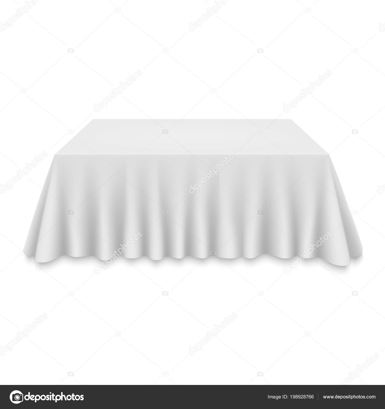 Empty Tablecloth Table Isolated White Background Stock Vector