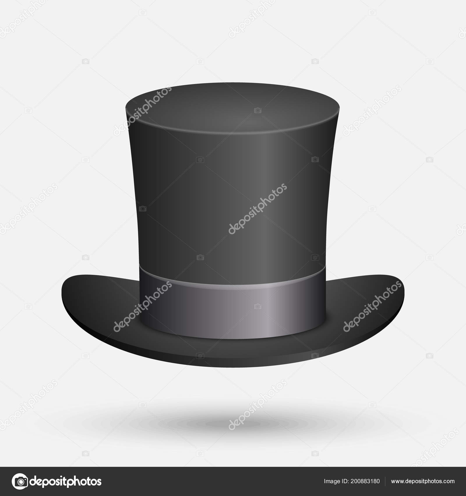 e00b90c0e Black Top Hat Vector Illustration Isolated White Background — Stock ...