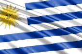 Fotografia bella bandiera sventolante variopinto dellUruguay