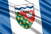 Fotografie beautiful colorful waving flag of province Northwest Territories, Canada