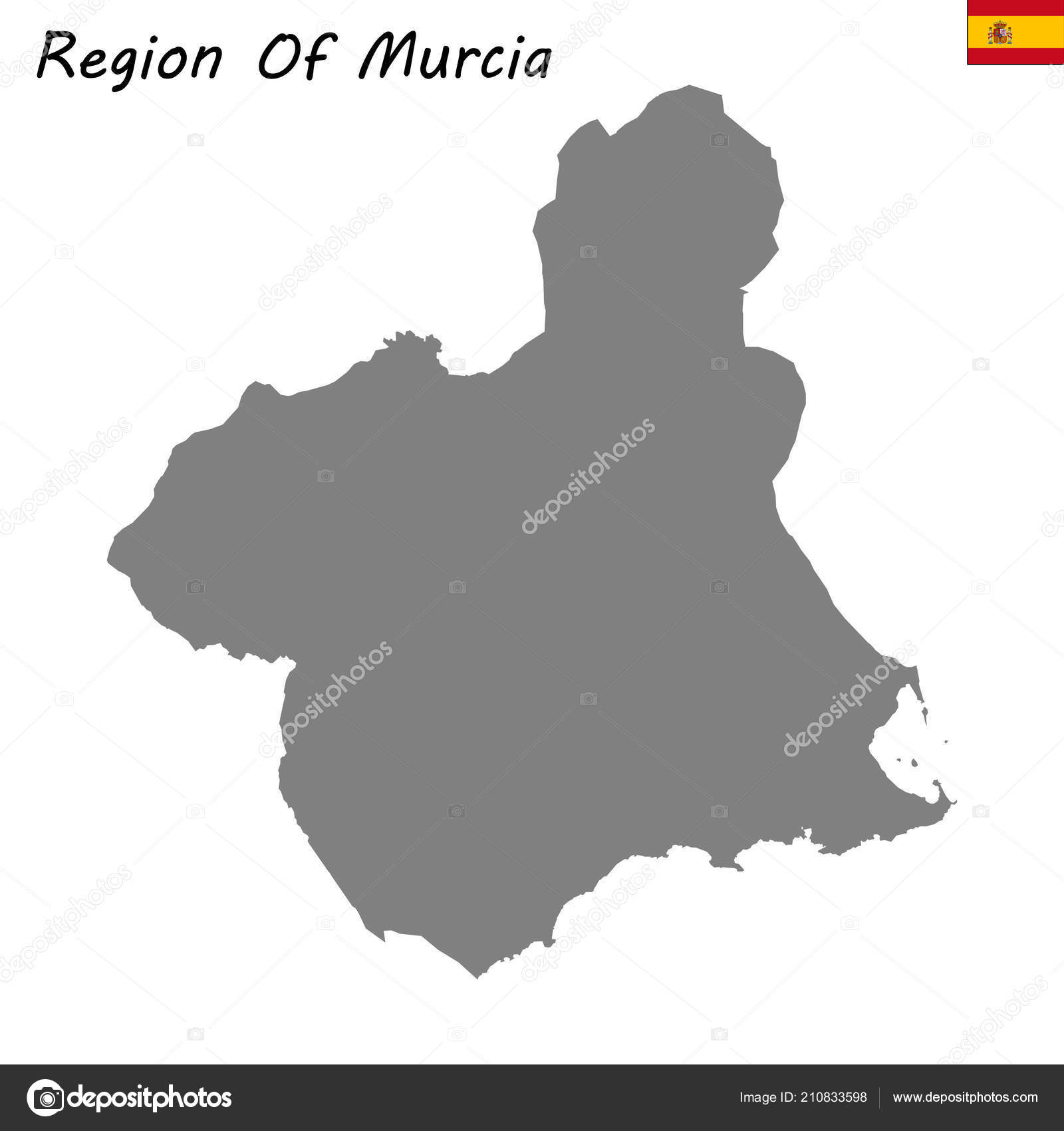 Mapa Region De Murcia.High Quality Map Region Murcia Stock Vector