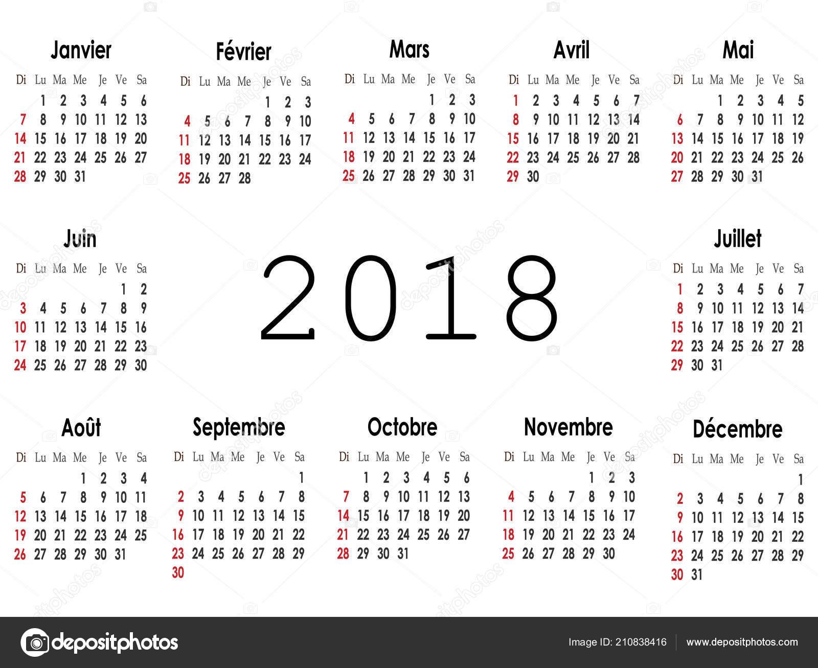 Simple Calendar Layout 2018 Year Vector Illustration — Stock Vector