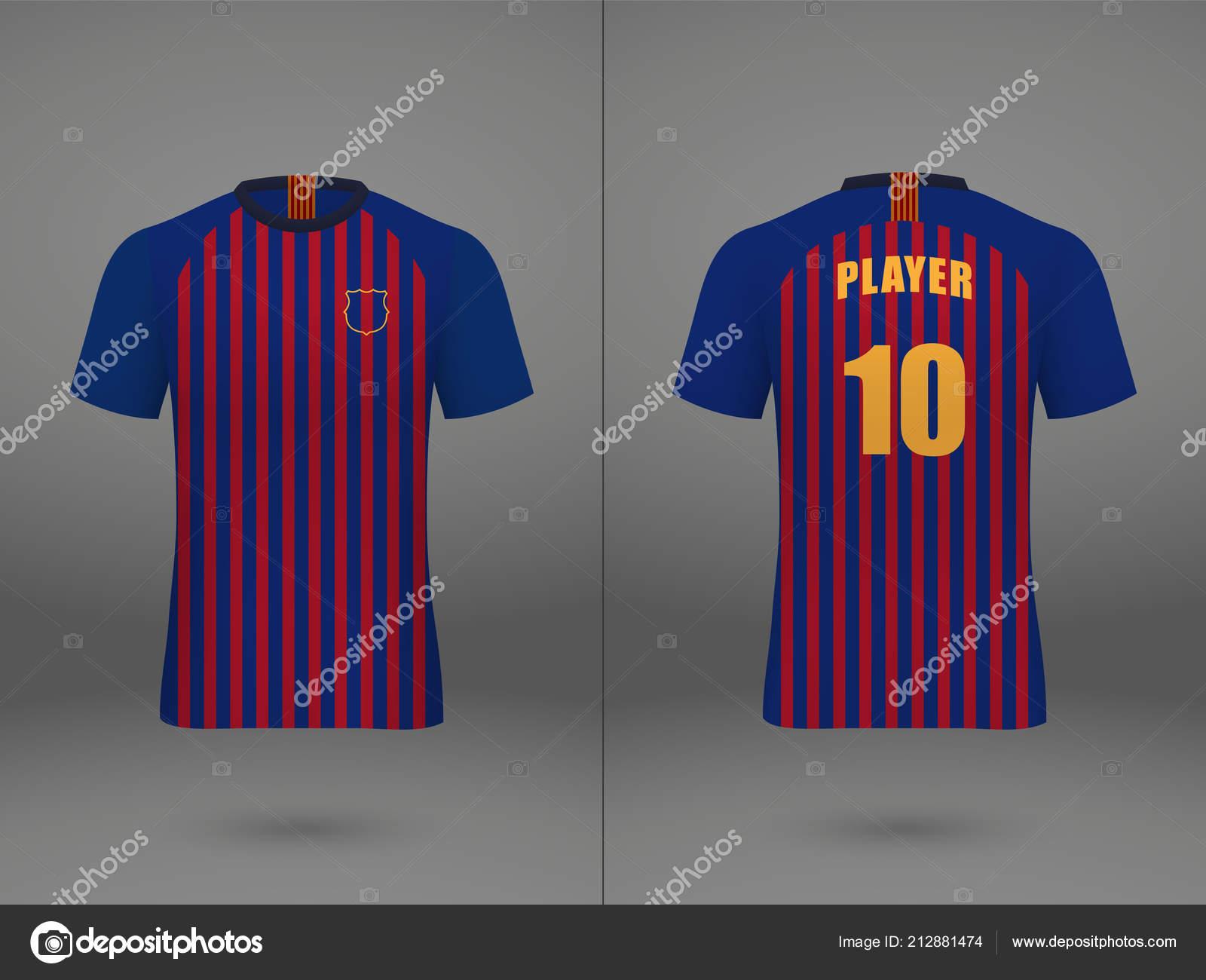 7157629c53def Camiseta de fútbol realista plantilla camiseta en el fondo de la tienda  maqueta de uniformes de