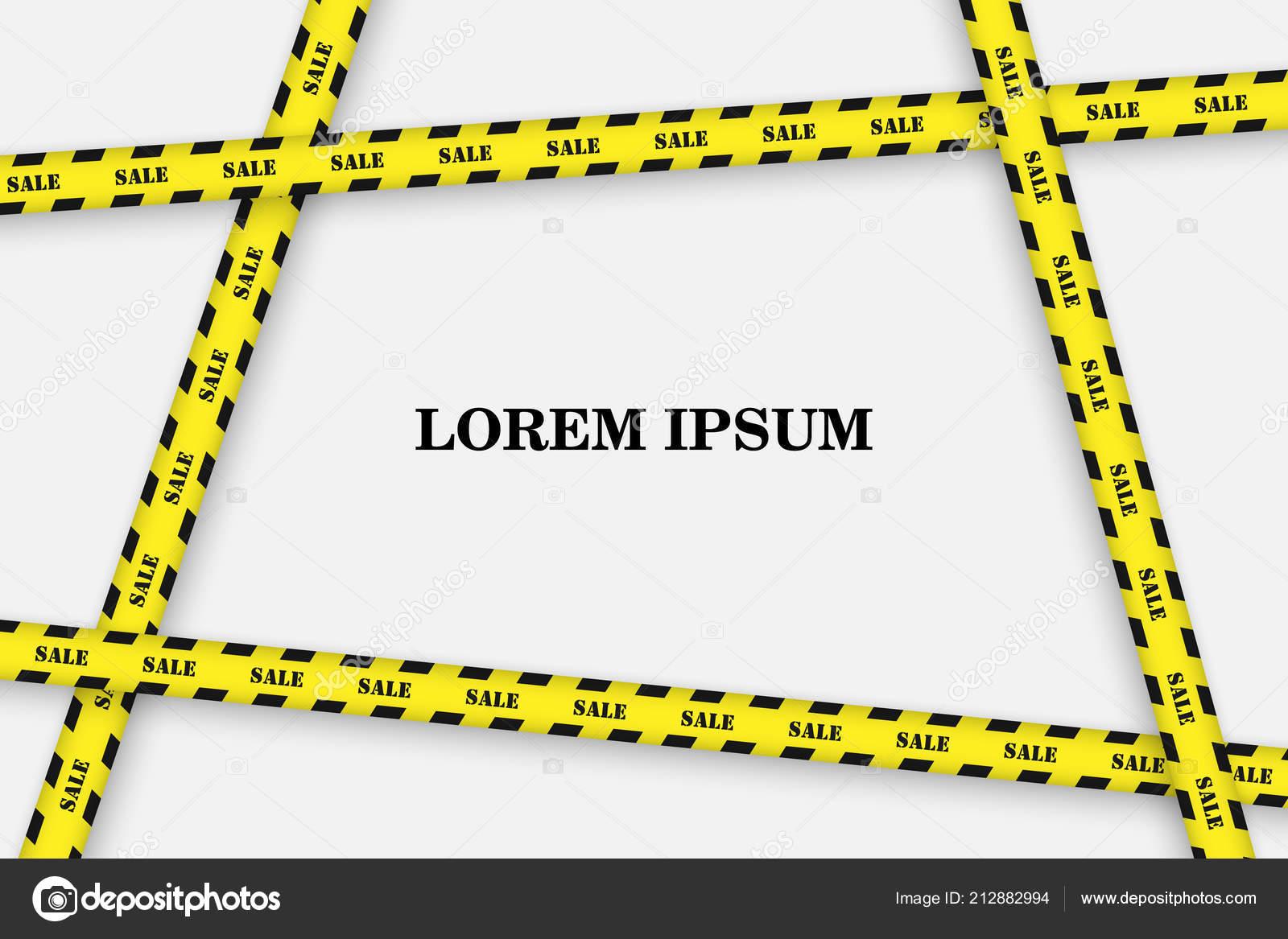 sale background black yellow striped borders vector illustration