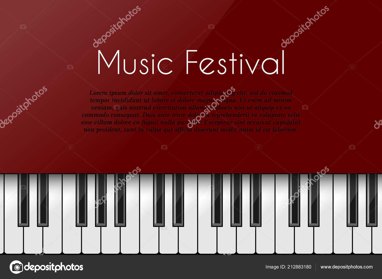 Music Background Piano Keyboard Poster Design Template Stock Vector