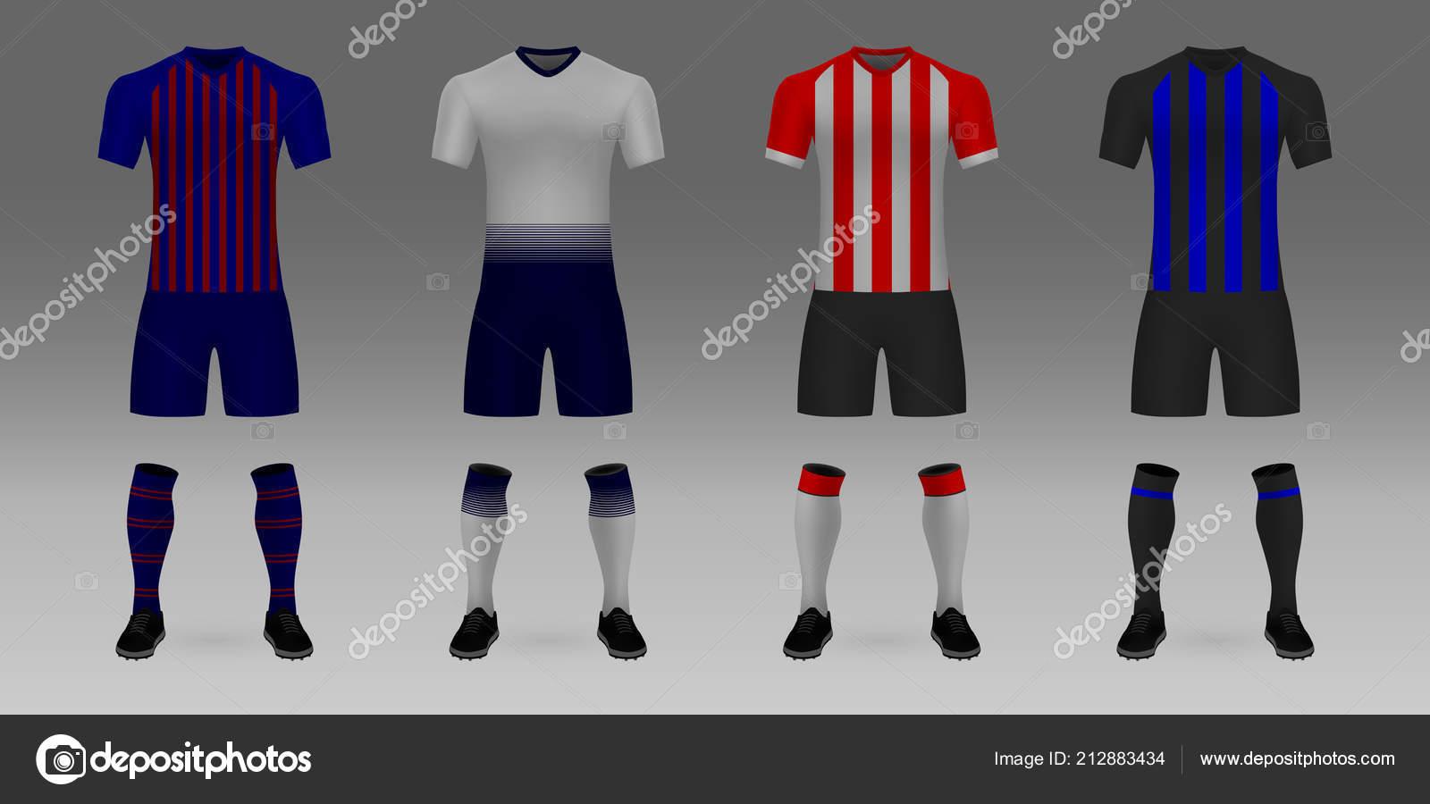 1303036394 Conjunto Realista Modelo Camisa Futebol Barcelona Tottenham Psv Shirt Inter  — Vetores de Stock