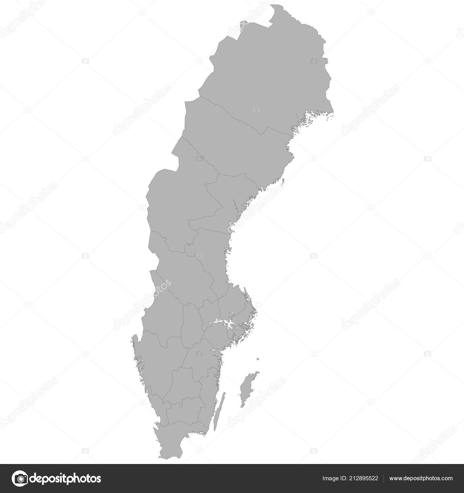 Schweden Karte Regionen.Hochwertige Karte Von Schweden Mit Grenzen Der Regionen Auf