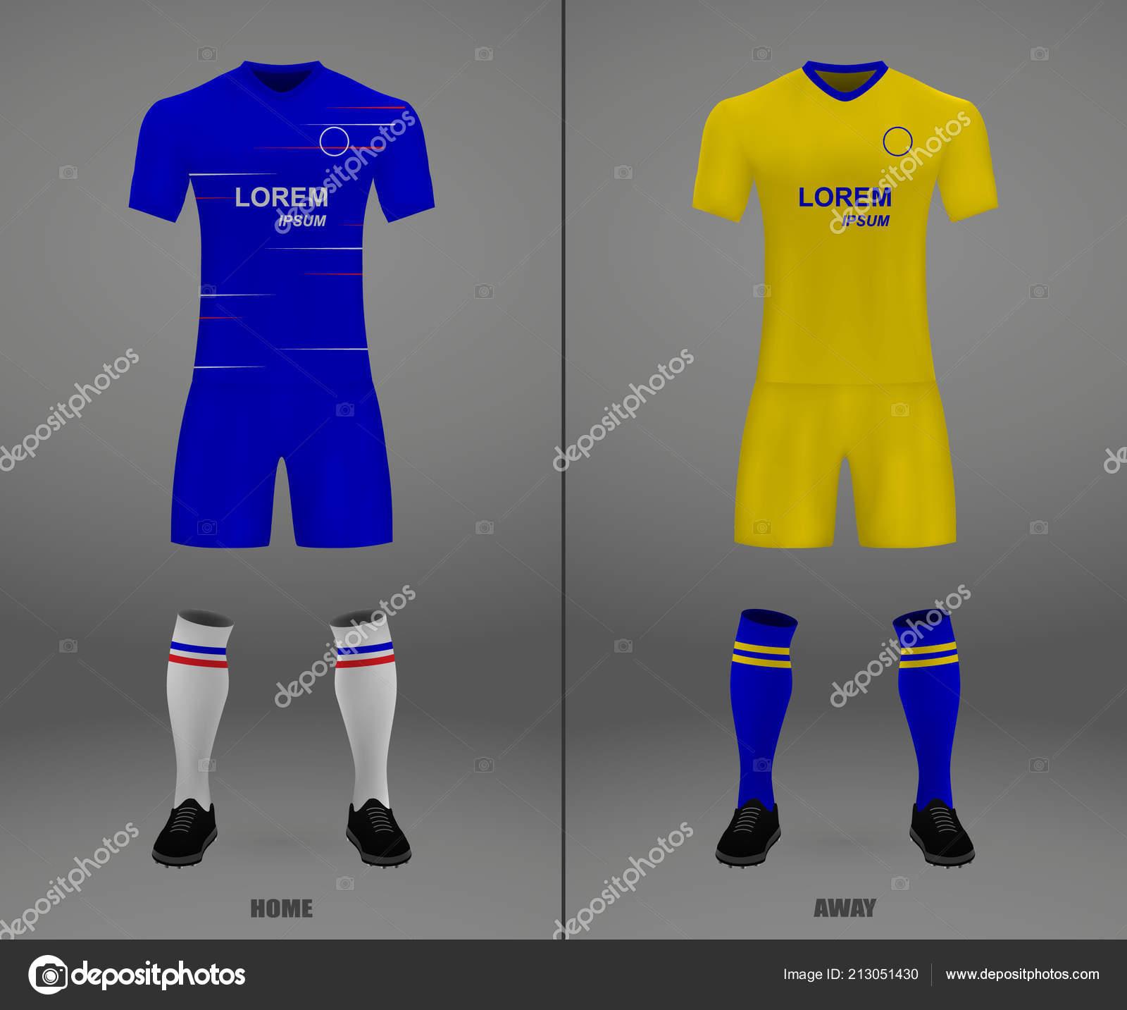 Kit Fútbol Chelsea 2018 Plantilla Camiseta Para Fútbol Ilustración Vector —  Vector de stock fe34d466d2536