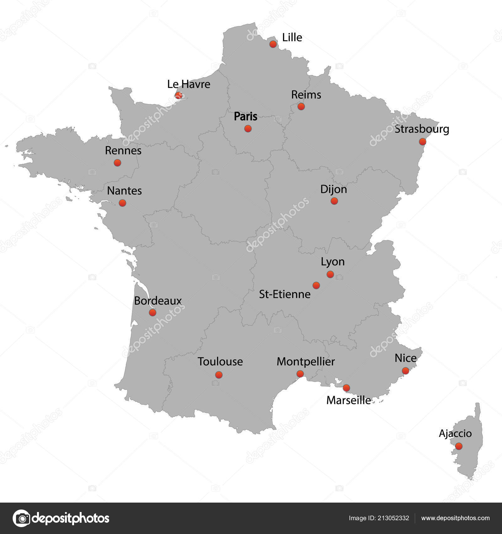 A Map Of France With Cities.Detailed Map France Cities Stock Vector C Grebeshkovmaxim Gmail