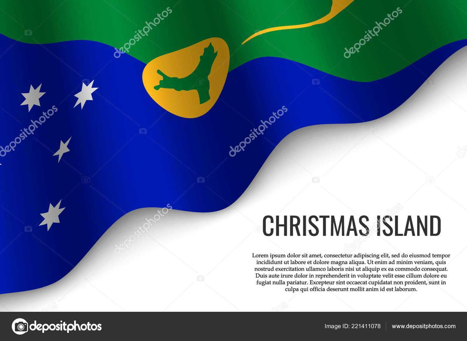 Waving Flag Christmas Island Region Australia Transparent Background