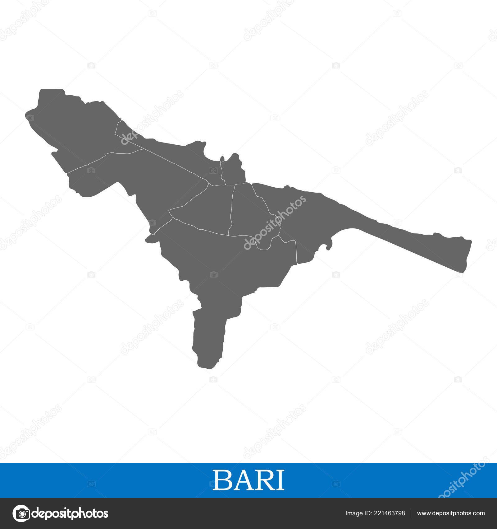 High Quality Map Bari City Italy Borders Districts Stock Vector