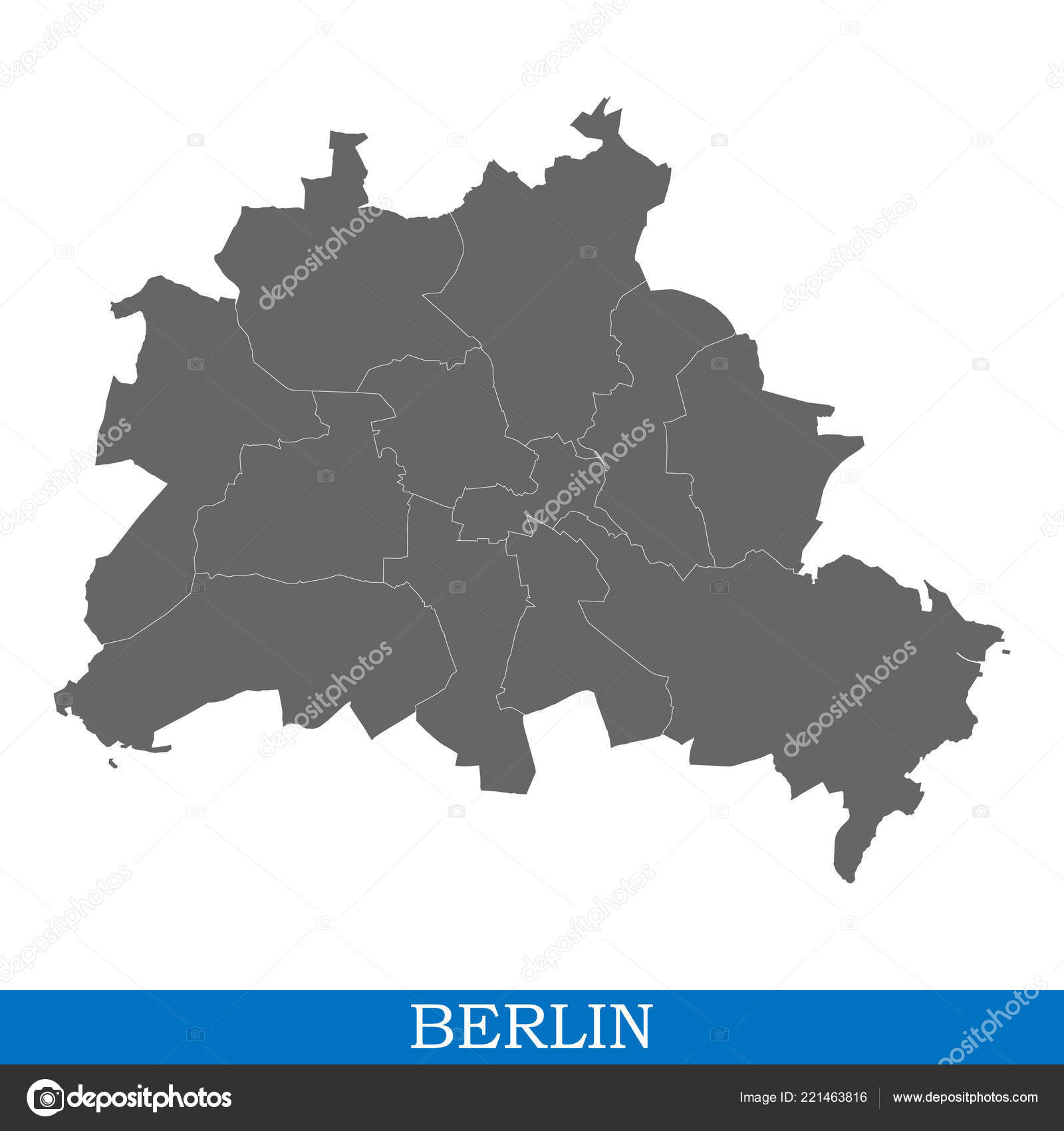 Germany Map Berlin.High Quality Map Berlin City Germany Borders Districts Stock