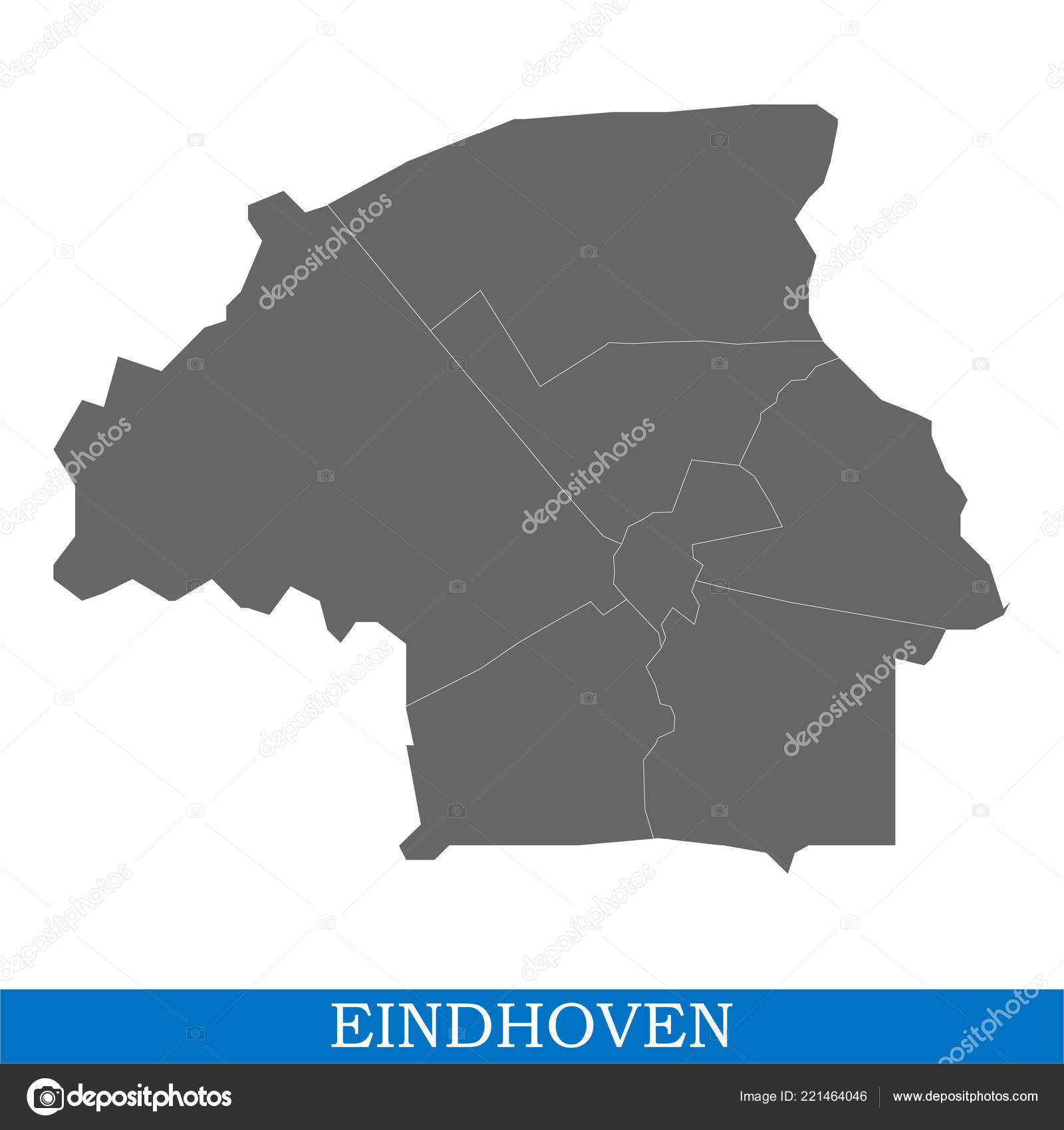 High Quality Map Eindhoven City Netherlands Borders ...